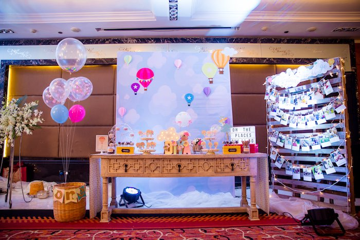 "Hot Air Balloon Dessert Table from ""Oh the Places She'll Go"" Birthday Party on Kara's Party Ideas 