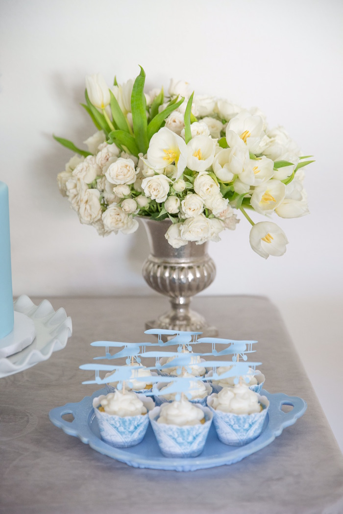 """Table Details from a """"Time Flies"""" Vintage Travel Birthday Party on Kara's Party Ideas 