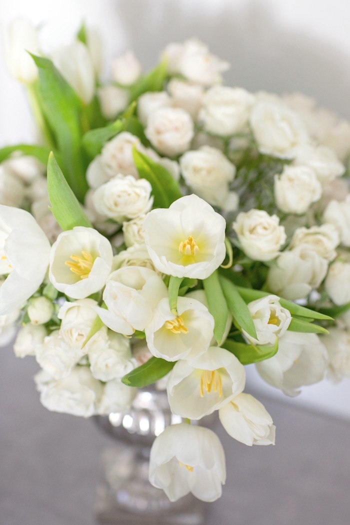 """White Blooms from a """"Time Flies"""" Vintage Travel Birthday Party on Kara's Party Ideas 