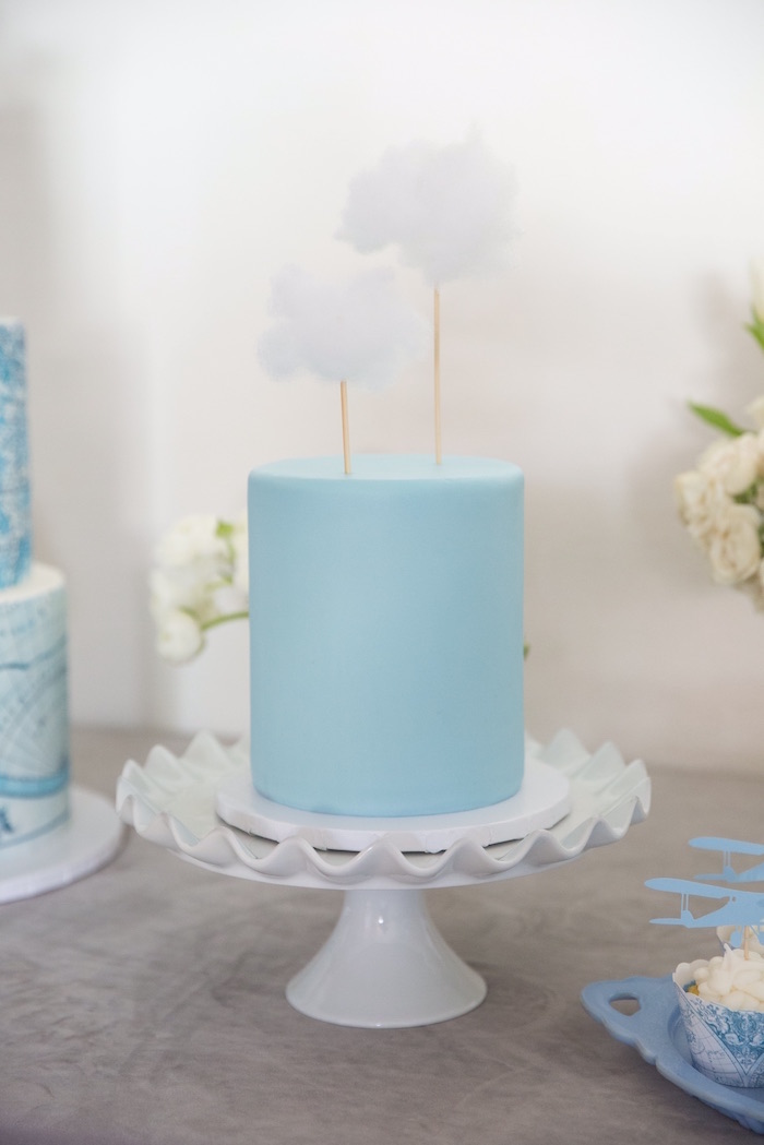 "Cloud Cake from a ""Time Flies"" Vintage Travel Birthday Party on Kara's Party Ideas 
