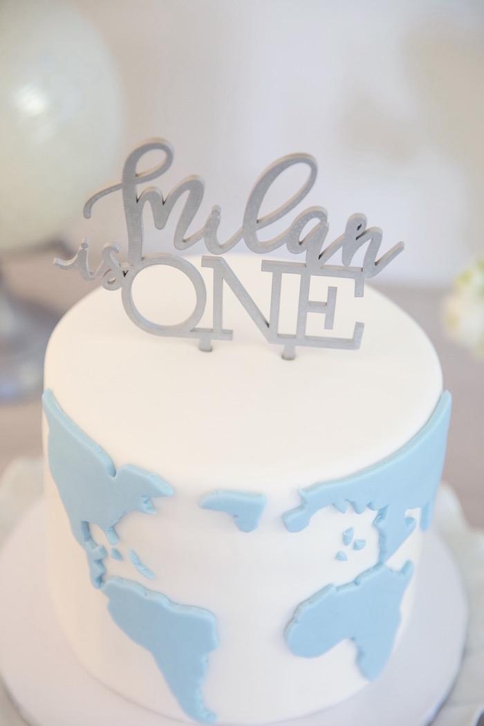 "Custom Cake Topper from a ""Time Flies"" Vintage Travel Birthday Party on Kara's Party Ideas | KarasPartyIdeas.com (12)"