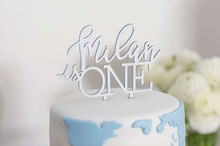 "Custom Cake Topper from a ""Time Flies"" Vintage Travel Birthday Party on Kara's Party Ideas 