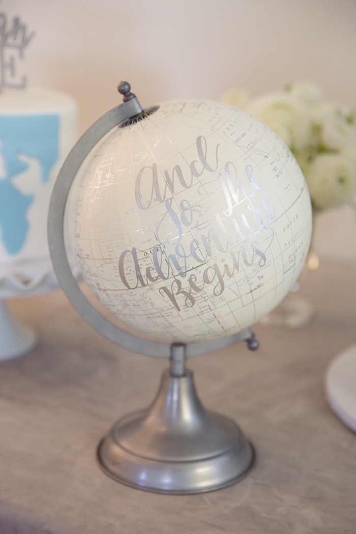 "Globe Signage from a ""Time Flies"" Vintage Travel Birthday Party on Kara's Party Ideas 