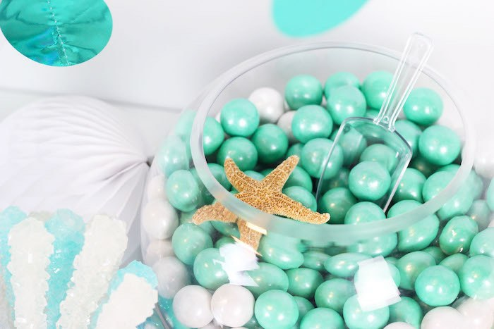 """Fish Bowl Candy from a """"Wish We Were Mermaids"""" Birthday Party on Kara's Party Ideas   KarasPartyIdeas.com (14)"""