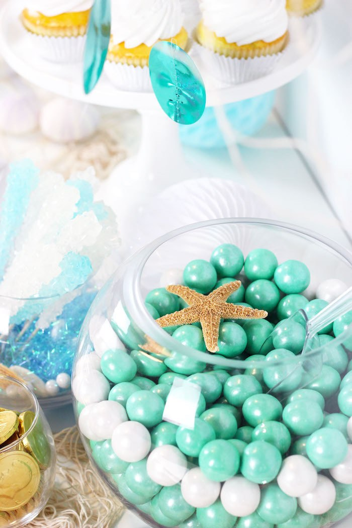 """Fish Bowl Candy from a """"Wish We Were Mermaids"""" Birthday Party on Kara's Party Ideas   KarasPartyIdeas.com (13)"""