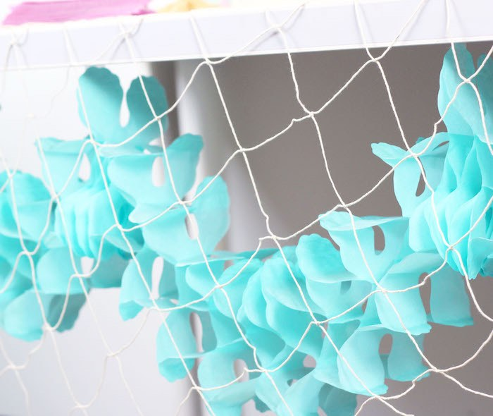 "Fish Net Bunting from a ""Wish We Were Mermaids"" Birthday Party on Kara's Party Ideas 