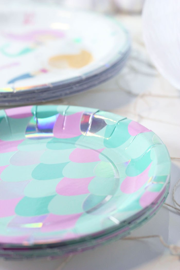 "Mermaid Scale Plate from a ""Wish We Were Mermaids"" Birthday Party on Kara's Party Ideas 