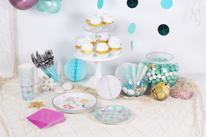 "Sweet Table from a ""Wish We Were Mermaids"" Birthday Party on Kara's Party Ideas 