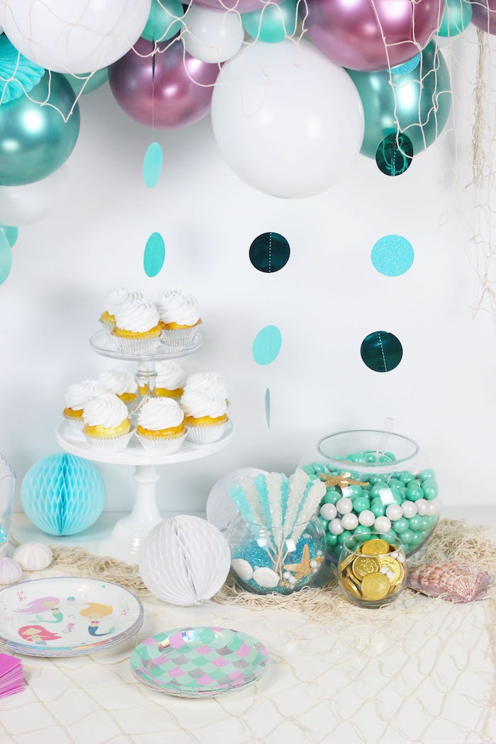 """Sweet Table from a """"Wish We Were Mermaids"""" Birthday Party on Kara's Party Ideas   KarasPartyIdeas.com (9)"""