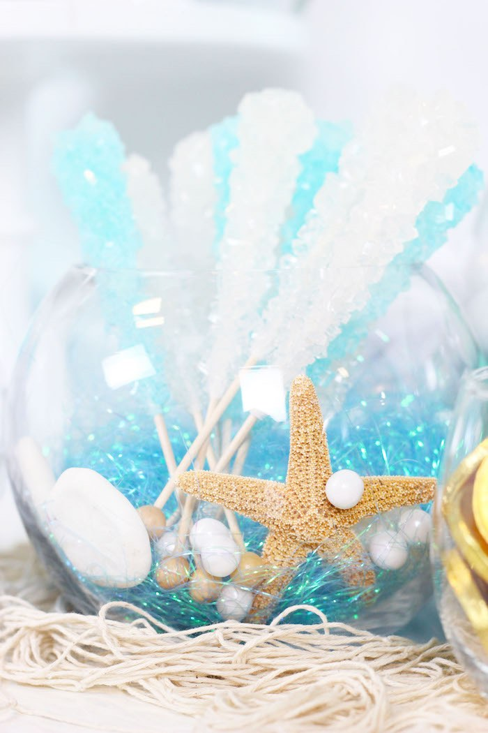 "Rock Candy Sugar Sticks from a ""Wish We Were Mermaids"" Birthday Party on Kara's Party Ideas 