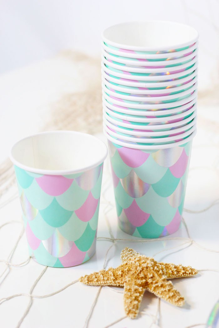 "Mermaid Scale Paper Cups from a ""Wish We Were Mermaids"" Birthday Party on Kara's Party Ideas 