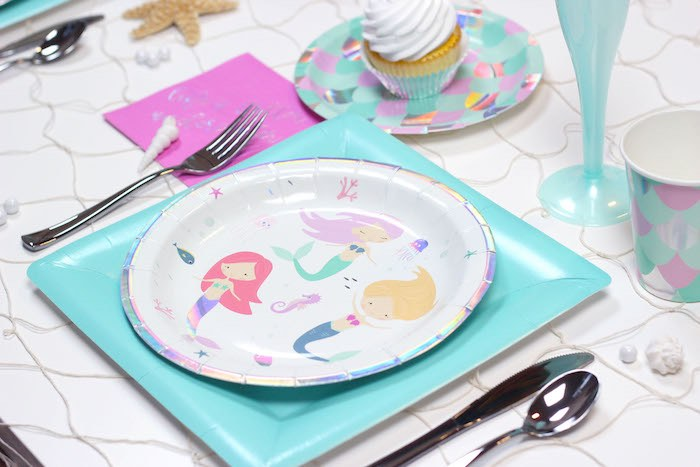 """Mermaid Table Setting from a """"Wish We Were Mermaids"""" Birthday Party on Kara's Party Ideas   KarasPartyIdeas.com (5)"""