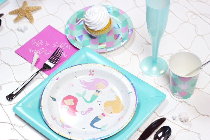 """Mermaid Table Setting from a """"Wish We Were Mermaids"""" Birthday Party on Kara's Party Ideas   KarasPartyIdeas.com (4)"""