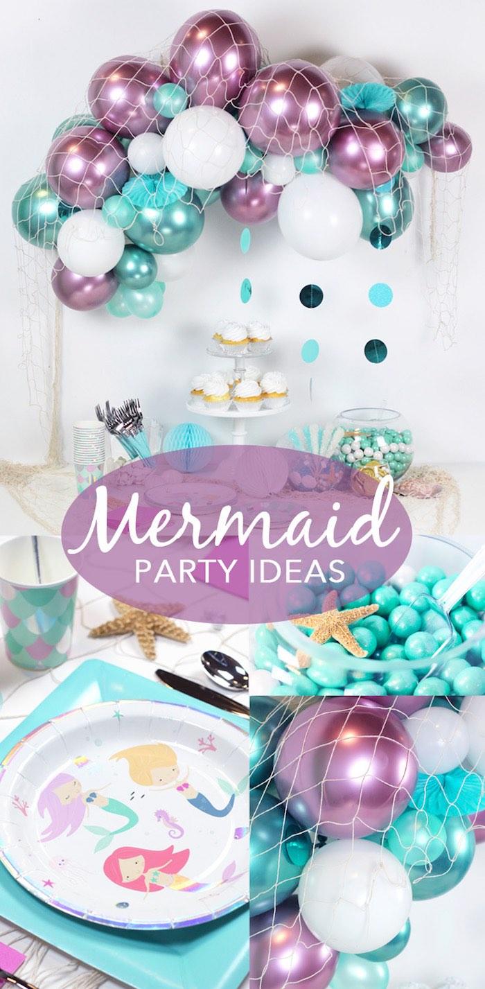 """Wish We Were Mermaids"" Birthday Party on Kara's Party Ideas   KarasPartyIdeas.com (3)"