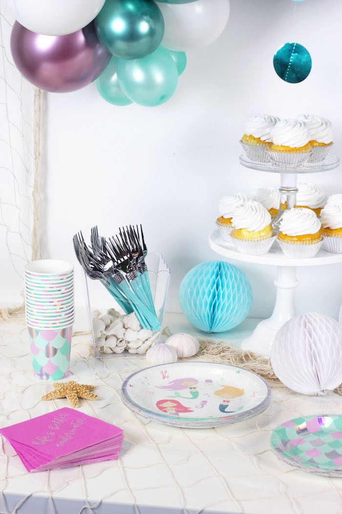 "Mermaid Themed Party Table from a ""Wish We Were Mermaids"" Birthday Party on Kara's Party Ideas 