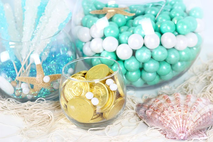 "Gold Coins from a ""Wish We Were Mermaids"" Birthday Party on Kara's Party Ideas 