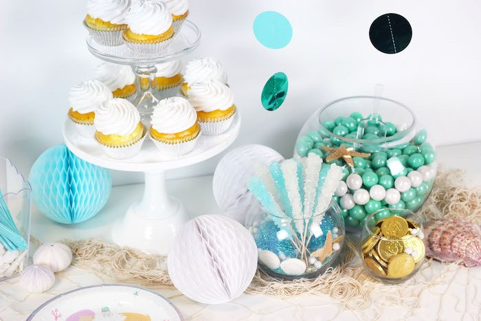 "Dessert Table Detail from a ""Wish We Were Mermaids"" Birthday Party on Kara's Party Ideas 