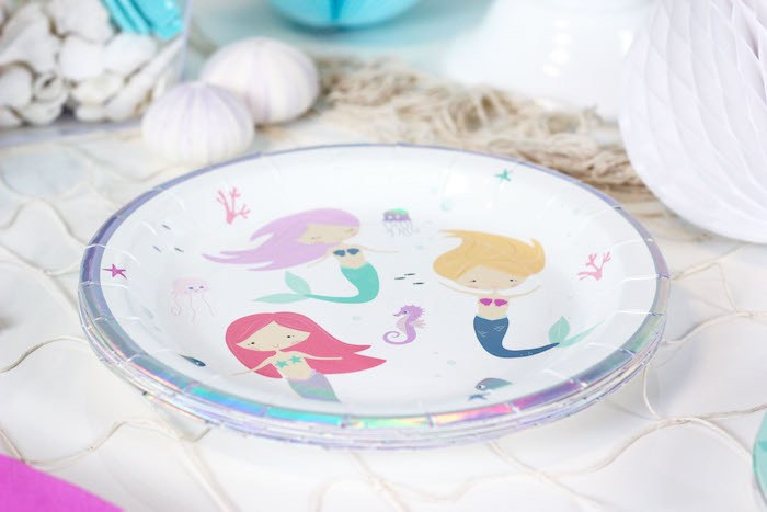 """Mermaid Plate from a """"Wish We Were Mermaids"""" Birthday Party on Kara's Party Ideas   KarasPartyIdeas.com (18)"""