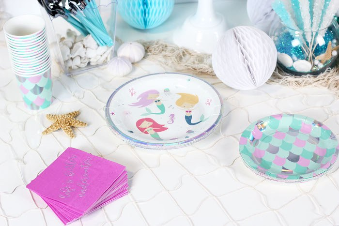 "Mermaid Plates from a ""Wish We Were Mermaids"" Birthday Party on Kara's Party Ideas 