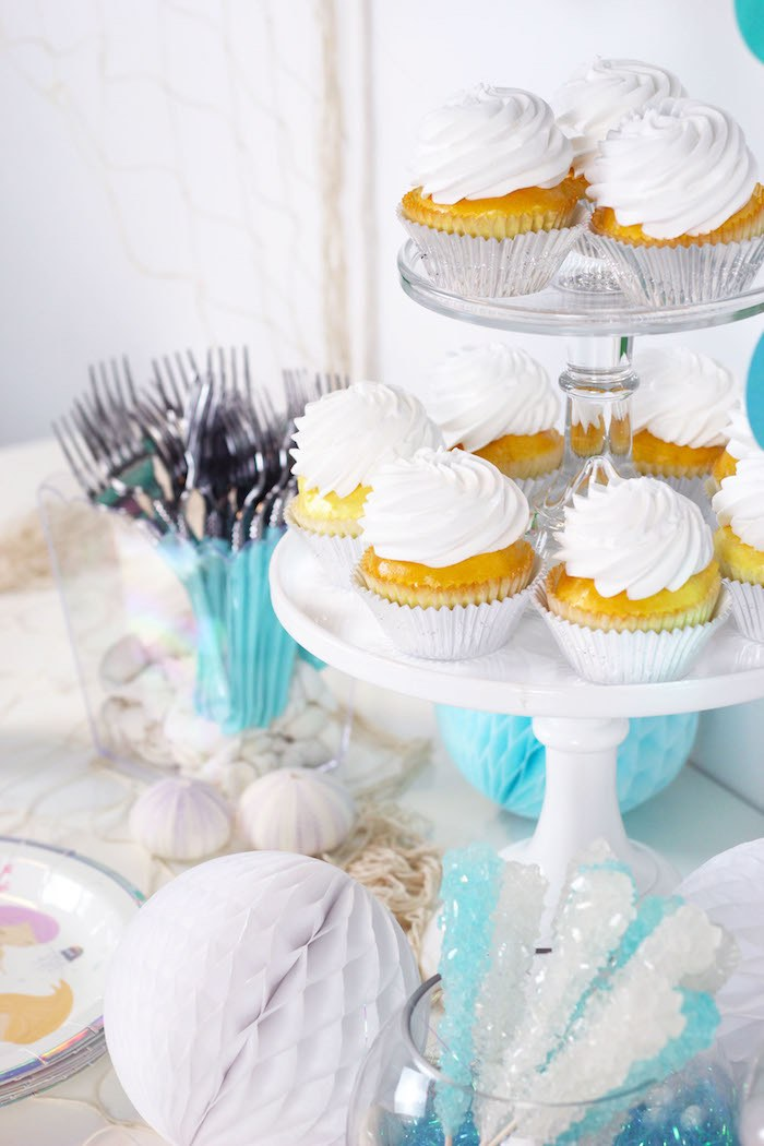 "White Cupcakes from a ""Wish We Were Mermaids"" Birthday Party on Kara's Party Ideas 
