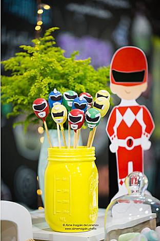 Power Ranger Cake Pops from a Power Rangers Birthday Party via Kara's Party Ideas | KarasPartyIdeas.com