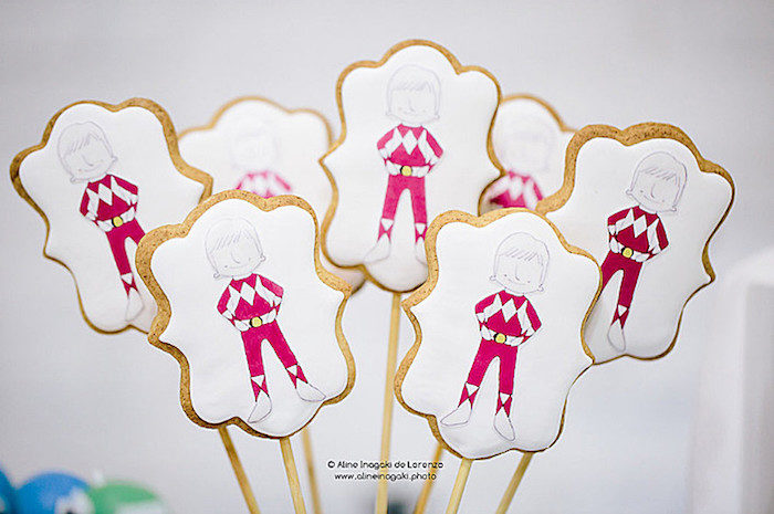 Red Power Ranger Cookie Pops from a Power Rangers Birthday Party via Kara's Party Ideas | KarasPartyIdeas.com