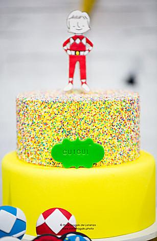 Red Power Ranger Confetti Cake from a Power Rangers Birthday Party via Kara's Party Ideas | KarasPartyIdeas.com