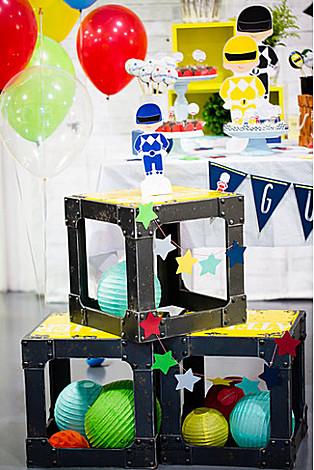 Crates + Paper Lanterns from a Power Rangers Birthday Party via Kara's Party Ideas | KarasPartyIdeas.com