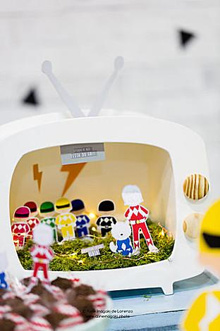 3D TV Decoration from a Power Rangers Birthday Party via Kara's Party Ideas | KarasPartyIdeas.com