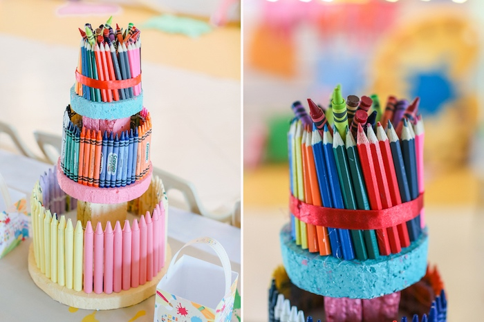 Art Supply Cake from an Arts & Crafts Joint Birthday Party on Kara's Party Ideas | KarasPartyIdeas.com (14)