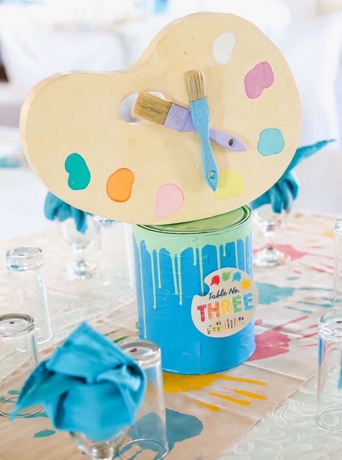 Paint Palette + Can Table Centerpiece from an Arts & Crafts Joint Birthday Party on Kara's Party Ideas | KarasPartyIdeas.com (13)