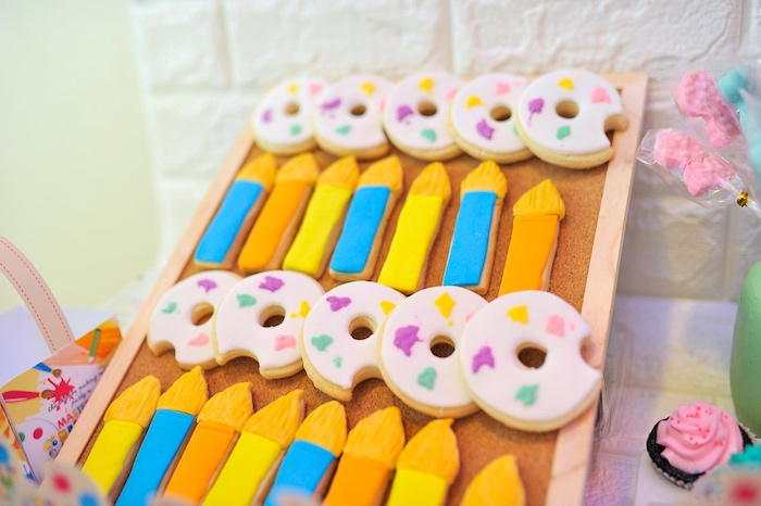 Paint Palette & Brush Cookies from an Arts & Crafts Joint Birthday Party on Kara's Party Ideas | KarasPartyIdeas.com (8)