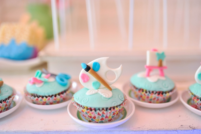 Paint Themed Cupcakes from an Arts & Crafts Joint Birthday Party on Kara's Party Ideas | KarasPartyIdeas.com (7)