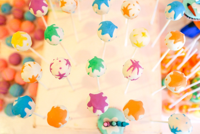 Paint Splatter Cake Pops from an Arts & Crafts Joint Birthday Party on Kara's Party Ideas | KarasPartyIdeas.com (5)