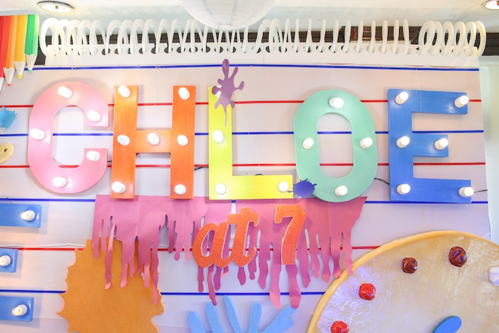 Colorful Notebook Marquee Backdrop from an Arts & Crafts Joint Birthday Party on Kara's Party Ideas | KarasPartyIdeas.com (22)