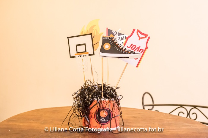 Basketball Themed Table Centerpiece from a Basketball Birthday Party on Kara's Party Ideas | KarasPartyIdeas.com (9)