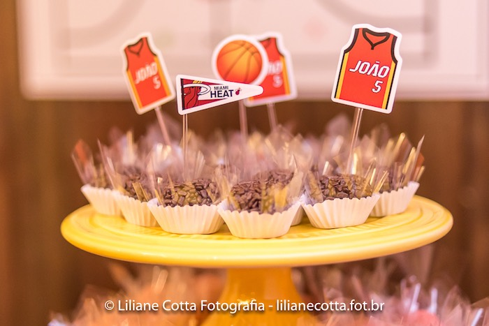 Brigadeiros with Basketball Themed Toppers from a Basketball Birthday Party on Kara's Party Ideas | KarasPartyIdeas.com (6)