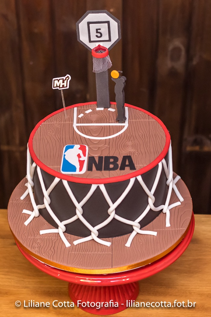 Basketball Cake from a Basketball Birthday Party on Kara's Party Ideas | KarasPartyIdeas.com (5)