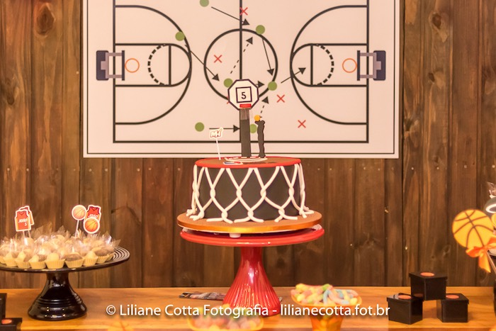 Basketball Cake from a Basketball Birthday Party on Kara's Party Ideas | KarasPartyIdeas.com (4)