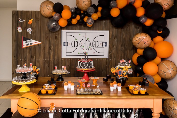 Basketball Themed Sweet Table from a Basketball Birthday Party on Kara's Party Ideas | KarasPartyIdeas.com (3)