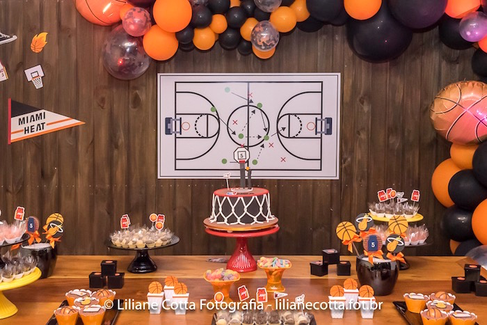 Cake Table from a Basketball Birthday Party on Kara's Party Ideas | KarasPartyIdeas.com (19)