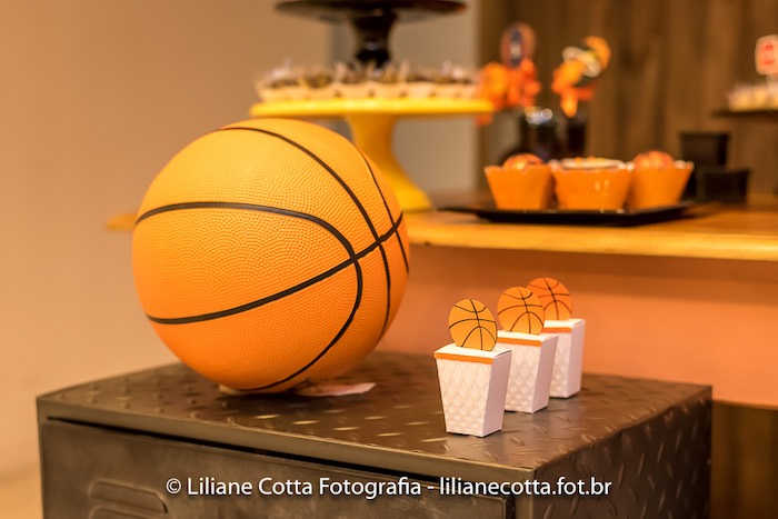 Basketball Pedestal from a Basketball Birthday Party on Kara's Party Ideas | KarasPartyIdeas.com (12)