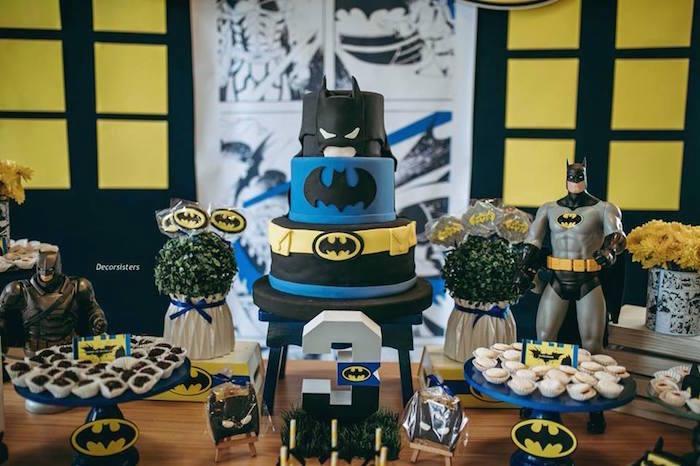 Batman Cake from a Batman Birthday Party on Kara's Party Ideas | KarasPartyIdeas.com (13)