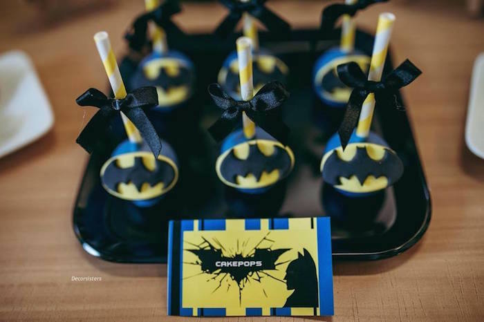 Batman Cake Pops from a Batman Birthday Party on Kara's Party Ideas | KarasPartyIdeas.com (11)