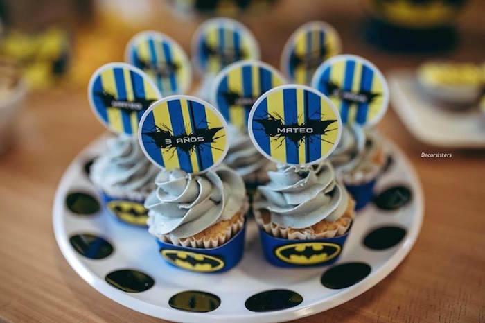 Batman Cupcakes from a Batman Birthday Party on Kara's Party Ideas | KarasPartyIdeas.com (7)
