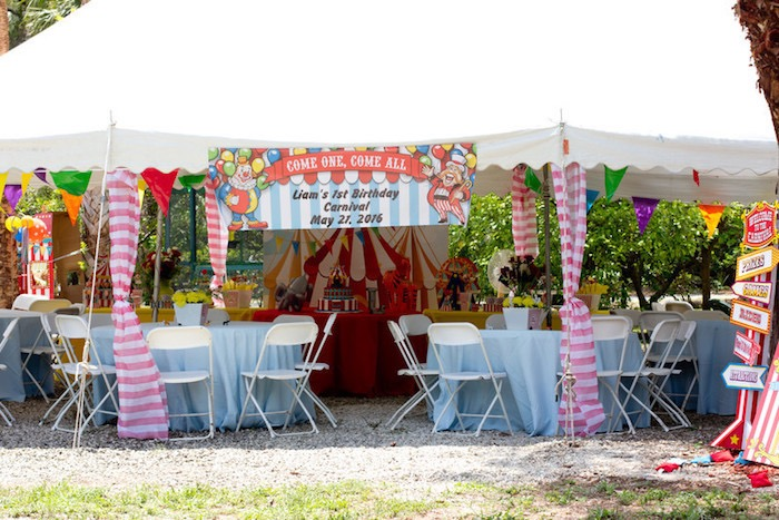 Big Top Party Tent from a Big Top Circus Birthday Party on Kara's Party Ideas | KarasPartyIdeas.com (13)