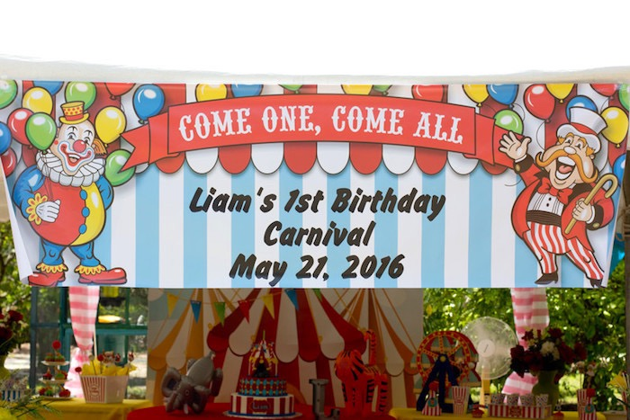 Circus Party Banner + Signage from a Big Top Circus Birthday Party on Kara's Party Ideas | KarasPartyIdeas.com (12)