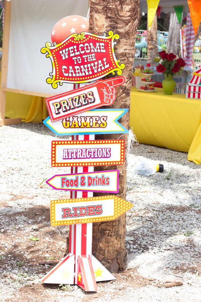 Directional Carnival Sign from a Big Top Circus Birthday Party on Kara's Party Ideas | KarasPartyIdeas.com (7)