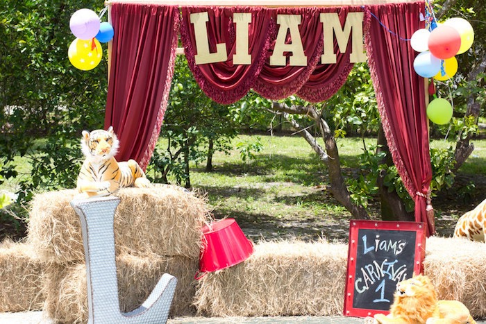 Curtained Stage from a Big Top Circus Birthday Party on Kara's Party Ideas | KarasPartyIdeas.com (6)