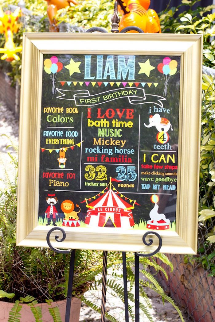 Circus Themed Milestone Board from a Big Top Circus Birthday Party on Kara's Party Ideas | KarasPartyIdeas.com (5)